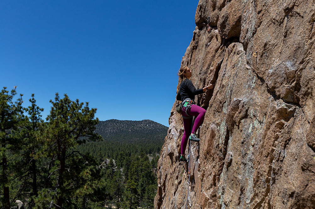 Becky climbing at Holcomb Valley