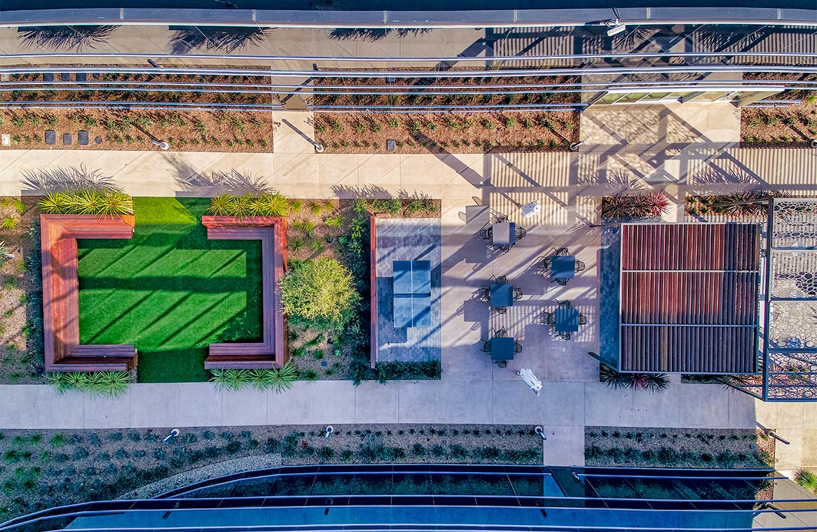 HCP Sorrento Highlands at Lusk Courtyard Overhead View